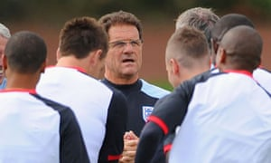 Fabio Capello talks to his England squad