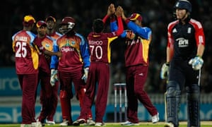 West Indies celebrate after taking the wicket of Ben Stokes during their victory over England