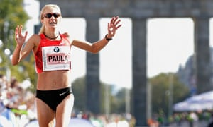 Paula Radcliffe crosses the line to take bronze in the 38th Berlin Marathon