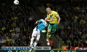 Steve Morison, right, heads in Norwich City's second goal against Sunderland at Carrow Road.