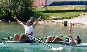 Mark Hunter and Zac Purchase celebrate after winning the lightweight double