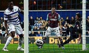 West Ham United's Matt Jarvis scores against Queens Park Rangers at Loftus Road