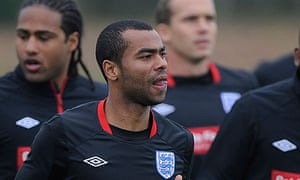 Ashley Cole at an England training session
