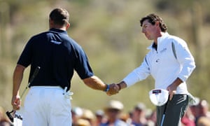 Rory McIlroy and Lee Westwood shake hands