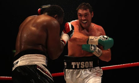 Tyson Fury, right, in action against Dereck Chisora during their British heavyweight title fight