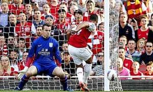 Arsenal's Theo Walcott scores