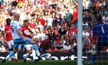 Kieran Gibbs puts Arsenal ahead against Aston Villa