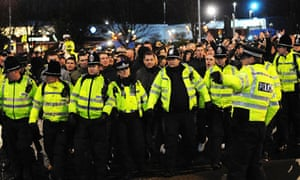 A heavy police presence at Elland Road is common