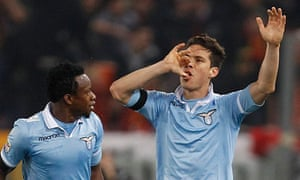 c14a29fa6 Lazio s Hernanes celebrates his goal in the Rome derby against Roma with a  tribute to his baby Maximo. Photograph  Giampiero Sposito Reuters. They say  no ...