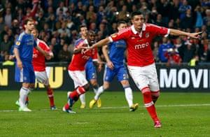Benfica v Chelsea 12: Benfica's  Cardozo celebrates after scoring