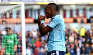 West Ham's Diafra Sakho celebrates scoring the second goal in the Premier League against Burnley