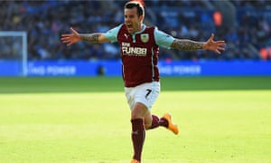 Burnley's Ross Wallace celebrates scoring against Leicester City in the Premier League