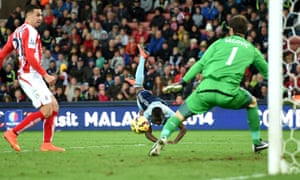 Enner Valencia scores West Ham's first goal against Stoke City in the Premier League