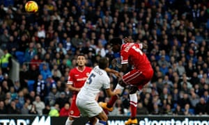 Ecuele Manga scores Cardiff's first goal against Leeds United in the Championship match