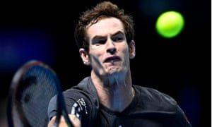 Andy Murray hits a return in his ATP Tour finals match against Kei Nishikori