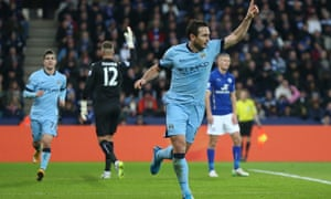 Frank Lampard puts Man City 1-0 up against Leicester in the Premier League match