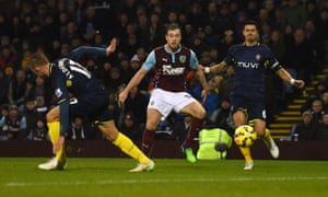 Ashley Barnes scores for Burnley against Southampton in the Premier League match at Turf Moor