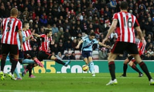 Stewart Downing scores for West Ham against Sunderland in the Premier League at the Stadium of Light