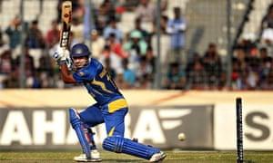 Sri Lanka's player Kumar Sangakkara celebrates his century