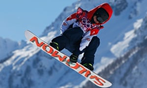 Jamie Nicholls takes a jump during the snowboard slopestyle final at the Winter Olympics
