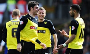 Albert Riera, left, celebrates puting Watford 1-0  against Ipswich in the Championship at Vicarage R