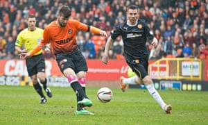 Dundee United's Nadir Cifti opens the scoring against Motherwell in the Scottish Premiership