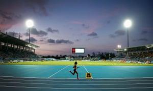 Kenya's Faith Chepngetich Kipyegon runs her leg of the world record 4x1500m relay in Nassau, Bahamas
