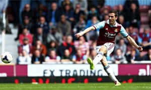 West Ham United's Stewart Downing scores his team's second goal against Tottenham