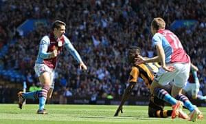 Aston Villa's Ashley Westwood celebrates scoring against Hull City in the Premier League at Villa