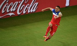 US forward Clint Dempsey celebrates afte