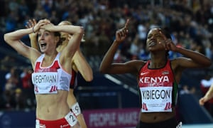 England's Laura Weightman shows her disbelief after winning the 1500m silver behind Faith Kibiegon