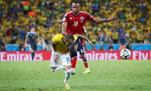 Camilo Zuniga barged into Neymar and with this tackle ended the Brazilian's World Cup.