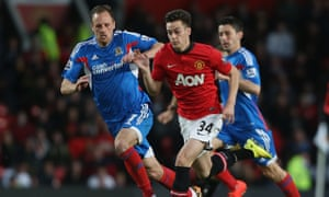 Tom Lawrence plays for Manchester United against Hull City last season; he is now surplus to require