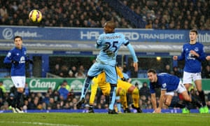 Manchester City's Fernandinho scores against Everton in the Premier League at Goodison Park