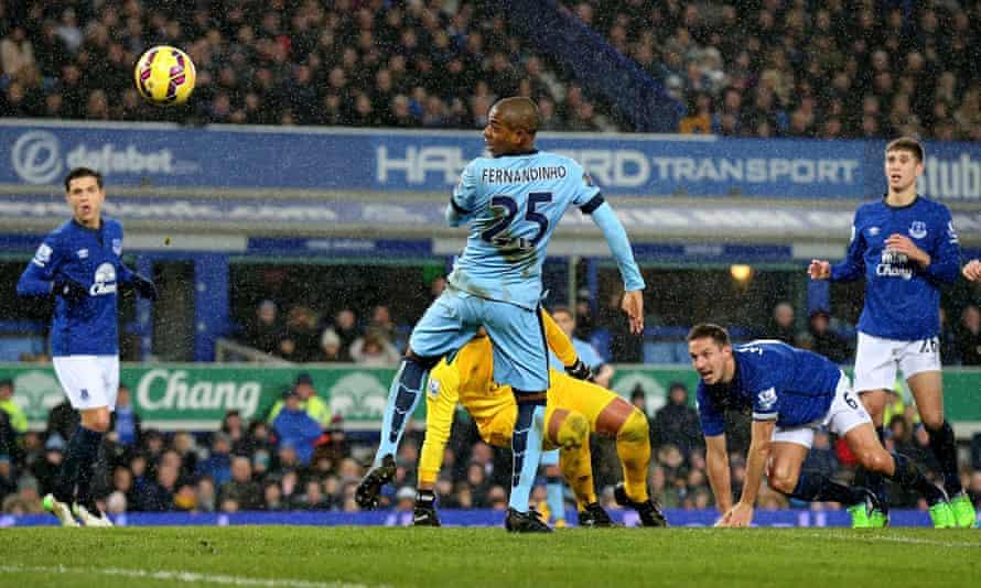 Manchester City's Fernandinho scores against Everton in the Premier League at Goodison Park