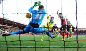 Norwich's Gary Hooper scores past Artur Boruc in the Bournemouth goal at The Goldsands