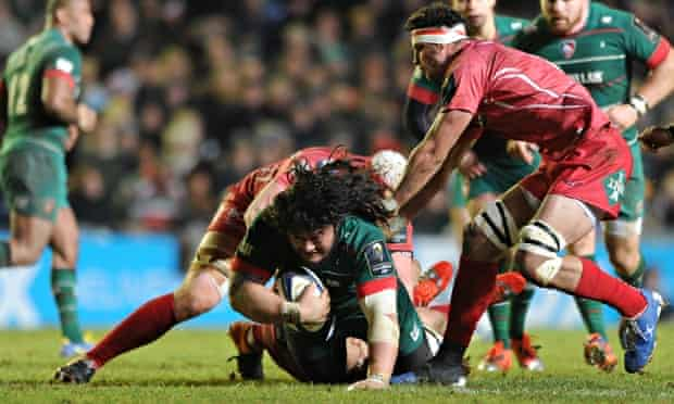 Leicester's prop, Logovi'i Mulipola, is brought to ground in the European match against Scarlets on
