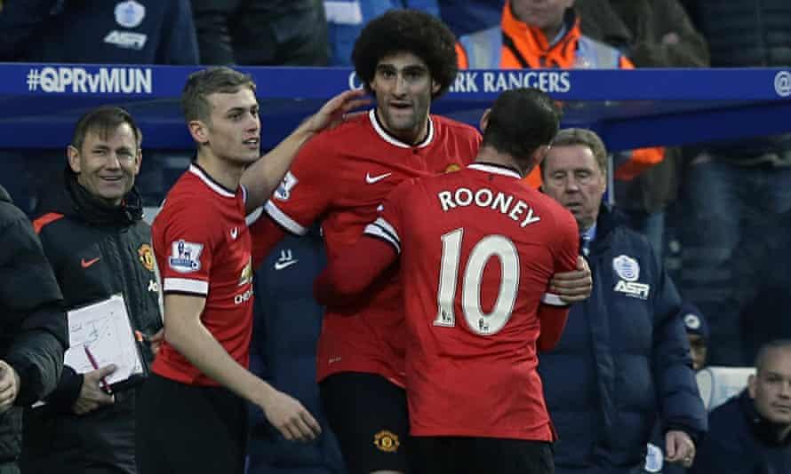 Manchester United's Marouane Fellaini celebrates his goal against QPR in the Premier League
