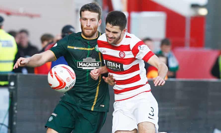 Celtic's scorer Adam Matthews and Hamilton's Stephen Hendrie in the the Scottish Premiership