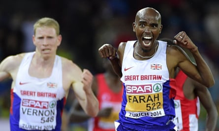Mo Farah, seen here crossing the finish line ahead of Andy Vernon to win the European Championships