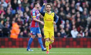 Arsenal's Santi Cazorla celebrates scoring against Crystal Palace in the Premier League