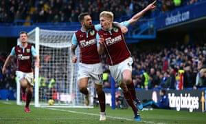 Ben Mee, right, celebrates scoring against Chelsea in the Premier League match at Stamford Bridge