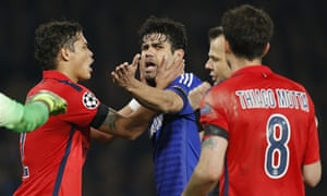 PSG's Thiago Silva tries to placate Chelsea striker Diego Costa during the Champions League last-16