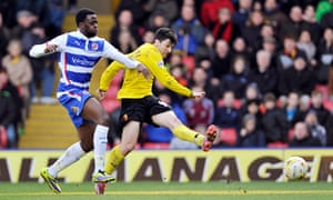 Watford's Fernando Forestieri scores the fourth goal against Reading in the Championship