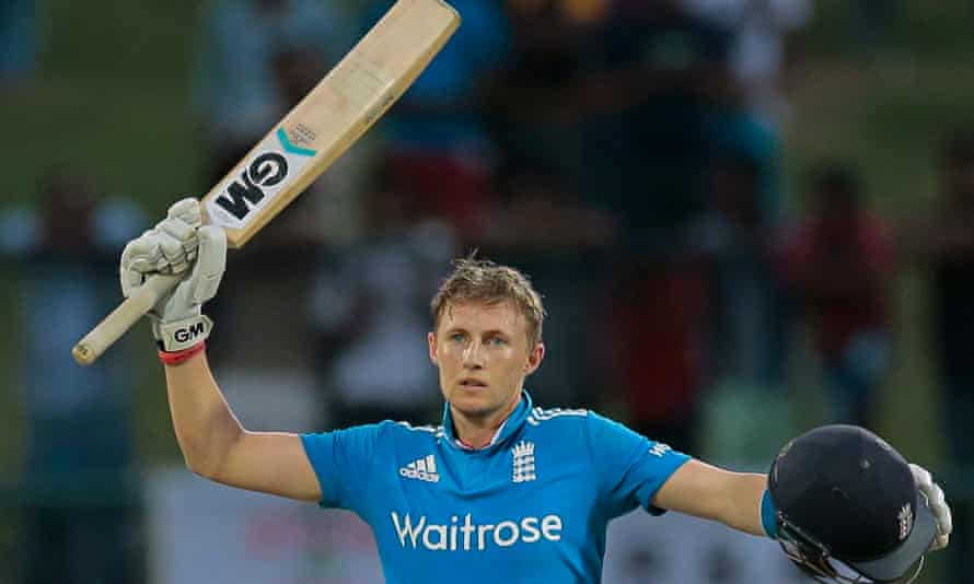 Joe Root, England's top-ranked batsman, celebrates a century but there has been little to cheer for England in this World Cup. Photograph: Eranga Jayawardena/AP