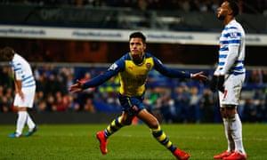 Alexis Sánchez celebrates scoring Arsenal's second goal in the Premier League game against QPR