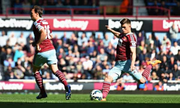 Aaron Cresswell scores for West Ham against Stoke City in the Premier League match at Upton Park