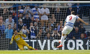 West Ham's Adrian saves a penalty from QPR's Charlie Austin in the Premier League at Loftus Road
