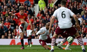 Manchester United's Ander Herrera scores against Aston Villa in the Premier League at Old Trafford
