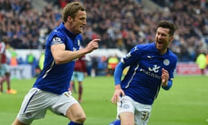 Andy King celebrates scoring for Leicester's against West Ham in the Premier League match